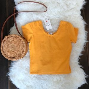 Mustard Crop top. NWT